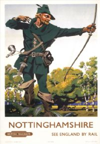 Nottinghamshire, Robin Hood. BR Vintage Travel Poster by Frank Newbould